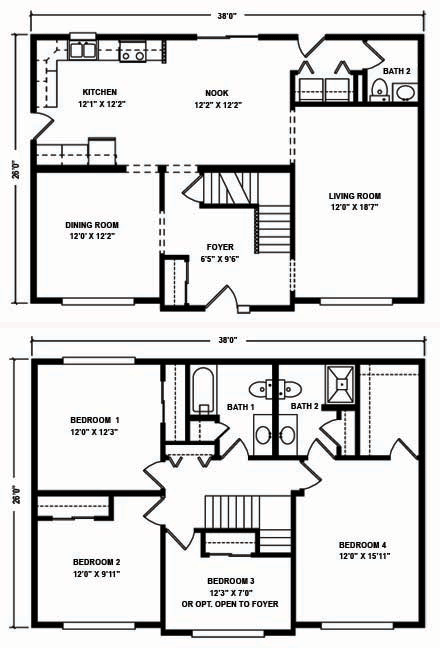 2 Story Floor Plan | North Mountain Modular Two Story Floor Plans